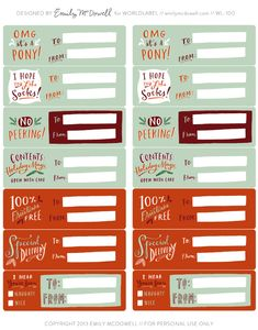 Free Printable Christmas Labels and tags for your gifts and packages.