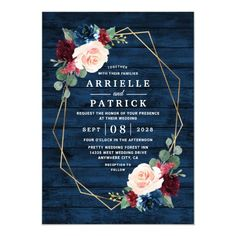 Navy Blue Burgundy Gold Blush Pink Country Wedding Invitation Wedding Menu Cards, Country Wedding Invitations, Engagement Party Invitations, Bridal Shower Invitations, Wedding Stationery, Dinner Invitations, Engagement Parties, Watercolor Invitations, Rustic Invitations