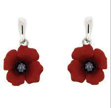 Beautiful Silver & Red Rhinestones Poppy Flower Symbolic Drop Earrings E872