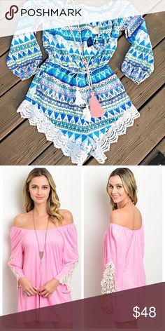 Reserved bundle Pink crochet detail dress/tunic - romper Other