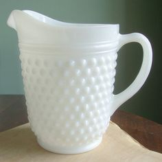 Milk Glass Pitcher. Love the Hobnail.