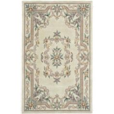 Rugs America New Aubusson Tufted Wool Rug, Beige