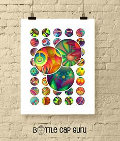 Colorful, printable, abstract floral images for your crafts and projects: jewelry, bottlecaps, magnets, scrapbooks... Hey, youre the creative one, Bottle Cap Art, Bottle Cap Images, Digital Form, Digital Collage, Digital Image, Abstract Images, Collage Sheet, Printables, Turquoise