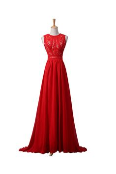 Red Lace Chiffon Beaded Long PromEvening Dresses