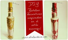 Reutiliza botellas de vinagre para crear botellas decorativas de estilo marroquí   Manualidades