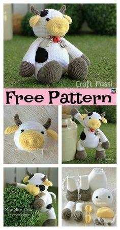 6 Super Cute Crocheted Amigurumi Cow Free Patterns #amigurumi #freecrochetpatterns#cow #gift