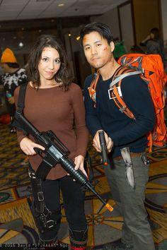 Maggie Greene and Glenn Rhee #cosplay   Anime Los Angeles 2015 - Saturday #DTJAAAAM