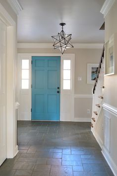 Listy McListerface: Updated | Young House Love - like painted door and light fixture.