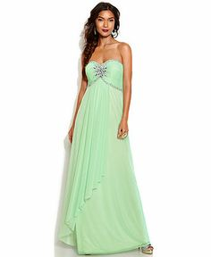 Xscape Strapless Embellished Empire-Waist Gown - Juniors Dresses - Macy's