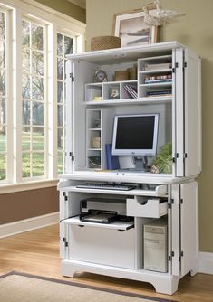 White Modern Computer Armoire With Accessories