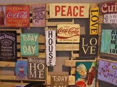 cuadros palabras retro madera reciclada carteles
