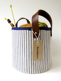 Storage Baskets with Leather Handles DIY