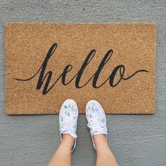 hello welcome mat   hand painted, custom doormat   cute doormat   outdoor doormat   wedding gift   housewarming gift