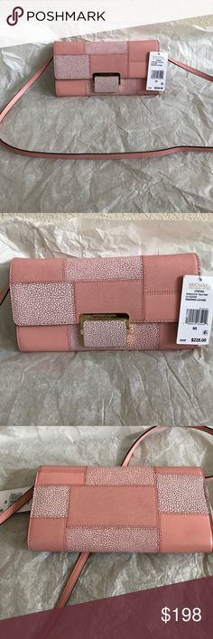 """Michael kors Cynthia Lg clutch Brand new with tag. Comes with dust bag. 9-1/2"""" W x 5"""" H x 1-1/2"""" D Tile patch shagreen embossed buttercalf leather Interior features 1 zip pocket and 4 card slots Exterior features gold-tone hardware Shoulder strap with 21"""" drop Push-lock closure color pale pink Michael Kors Bags Clutches & Wristlets"""