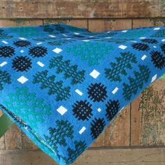 BEAUTIFUL BLUE WELSH BLANKET - goosehomeandgarden