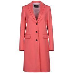 Emporio Armani Coat (32.740 RUB) ❤ liked on Polyvore featuring outerwear, coats, red, emporio armani coat, woolen coat, long sleeve coat, lapel coat and lapels wool coat
