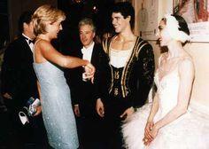 "June 3, 1997:  Diana, Princess of Wales discussing the performance of ""Swan Lake"" with principle dancers, Roberto Bolle and Altyynai Asylmmuratova at Royal Albert Hall."