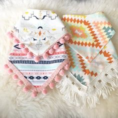 Handmade cotton bandana bibs with fringe and pompoms! Snap closure with two options for sizes make for a perfect fit. Please see options below to indicate style you would like.Ship to USA. Baby Sewing Projects, Sewing For Kids, Sewing Crafts, Sewing Diy, Diy Projects, Dog Bandana, Baby Crafts, Dog Crafts, Pet Clothes