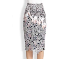 Peter Pilotto Vector Lace Pencil Skirt (3,285 ILS) ❤ liked on Polyvore featuring skirts, apparel & accessories, pink, lacy skirt, white lace skirt, lace skirt, long white skirt and long skirts
