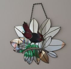 Stained Glass Bird in Mirrored Plant by GlassAndTrash on Etsy
