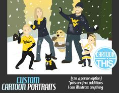 3 to 4 Person Cartoon Portrait 11x17 Print by CartoonThis on Etsy