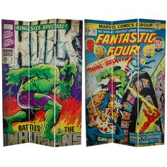 "Oriental Furniture 71"" x 47.25"" Tall Double Sided Fantastic Four / The Incredible Hulk 3 Panel Room Divider & Reviews 