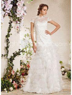 A-line High Neck Floor-length Lace Organza Wedding Dress - US$349.99