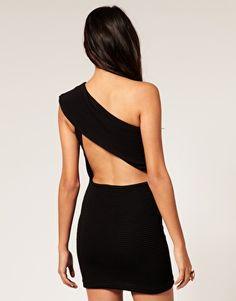 one shoulder backless dress