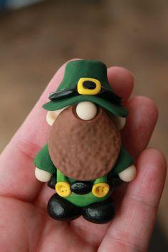 St. Patrick's Day Gnome Leprechaun Polymer Clay by GnomeWoods