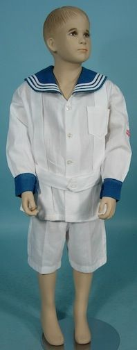 White Linen And Cotton Boy's Sailor Suit With Embroidered Anchor On Sleeve   c.1900's  -  Antique & Vintage Dress Gallery