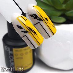Pastel Nail Art, Yellow Nail Art, Elegant Nails, Stylish Nails, Fancy Nails, Diy Nails, Nail Art Designs Videos, Nail Designs, Nail Art Modele