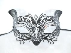 Black Cat Design Metal Laser Cut Masquerade Mask Halloween with Clear Crystals