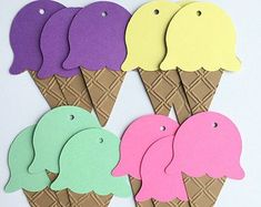 Items similar to Embossed Ice Cream Cone Tags - Set of 6 on Etsy Ice Cream Theme, Ice Cream Party, Candy Theme, Candy Party, Ideas Decoracion Cumpleaños, Ice Cream Crafts, Candy Land Christmas, Ice Cream Social, 4th Birthday Parties