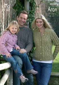 Sweater, Cardigan & Hooded Jacket in King Cole Merino Blend Aran - 3023