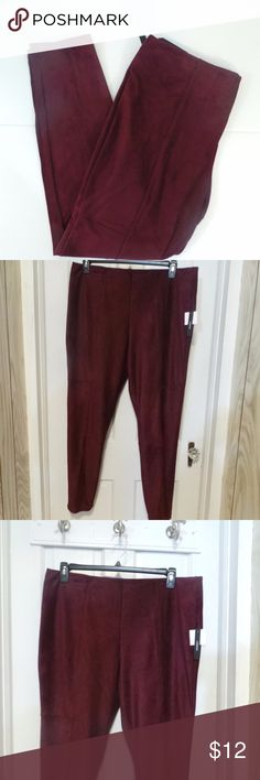Worthington Maroon Berry Suede Look Leggings New with tags, stretch Worthington Maroon Berry leggings size XL. Very soft and comfortable leggings. 98% polyester, 2% spandex. Very pretty to wear under a long top or with a sweater. Measures waist 38, inseam 29. Machine wash. Worthington Pants Leggings