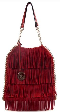 Red Fringes And Chain Trim Decorated Fashion Handbag