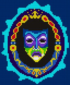 Magic Mirror From Snow White And The Seven Dwarfs Perler Bead Pattern / Bead Sprite Disney Cross Stitch Patterns, Pony Bead Patterns, Kandi Patterns, Peyote Stitch Patterns, Alpha Patterns, Perler Patterns, Canvas Patterns, Beading Patterns, Bracelet Patterns