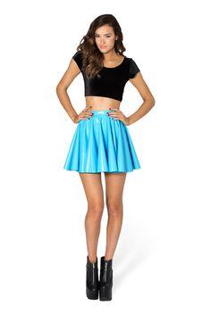 PVC Sky Blue Cheerleader Skirt - LIMITED by Black Milk Clothing $70AUD