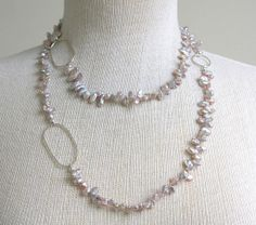 Long necklace freshwater pearls keishi pearls by HollyMackDesigns, $128.00