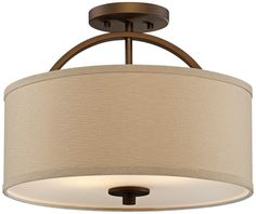 Brushed Bronze Finish Semi-Flush 15 Wide Ceiling Light -