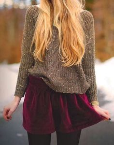 #fall #fashion / velvet skirt + maroon knit