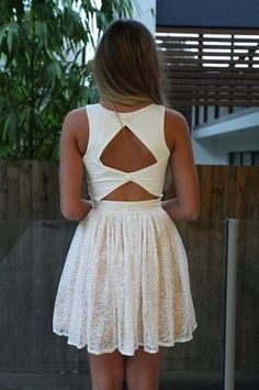 dress, white, lace, triangle, back, short, lace dress, open back, summer dress, white buttons, cute dress, fashion squad | Wheretoget.it