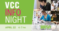 RSVP to VCC's Info Night on April 22 and be entered to win great prizes. http://vcc.ca/springinfonight