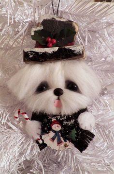 Maltese dog Snowman Hanging Ornament