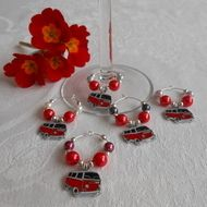 Red campervan wine glass charms - great gift idea