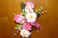 Weddings  Corsage Pink Rose Corsage Prom by thebloomingcornercom, $20.00