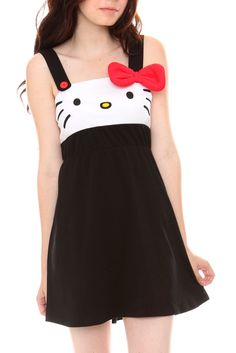 "Hello Kitty Face Dress  $46.50 to $50.50  This cuter than cute Hello Kitty dress features the precious feline's white face, single button strap and a puffy red bow. Meow!  Medium size measures 24 1/2"" long  95% cotton; 5% spandex  Wash cold; dry low  Imported  SKU: 131648"