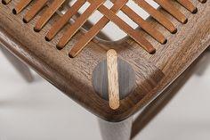 Sam Maloof leather lace stool detail