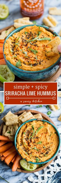 Super simple and fiery Sriracha Lime Hummus made with 8 ingredients in only 5 minutes | Posted By: DebbieNet.com