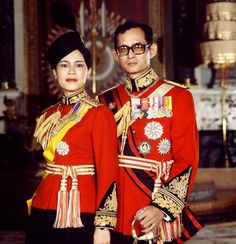 1979 - Queen Sirikit and King Bhumibol Adulyadej in uniforms in the Throne Room of the Grand Palace in Bangkok.